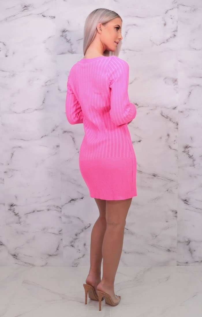 Pink Knitted Long Sleeve Jumper Dress - Bailey