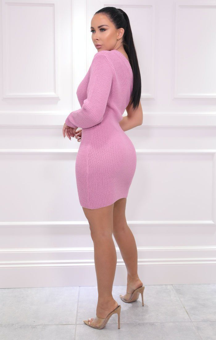Pink Knitted One Shoulder Mini Dress - Macie