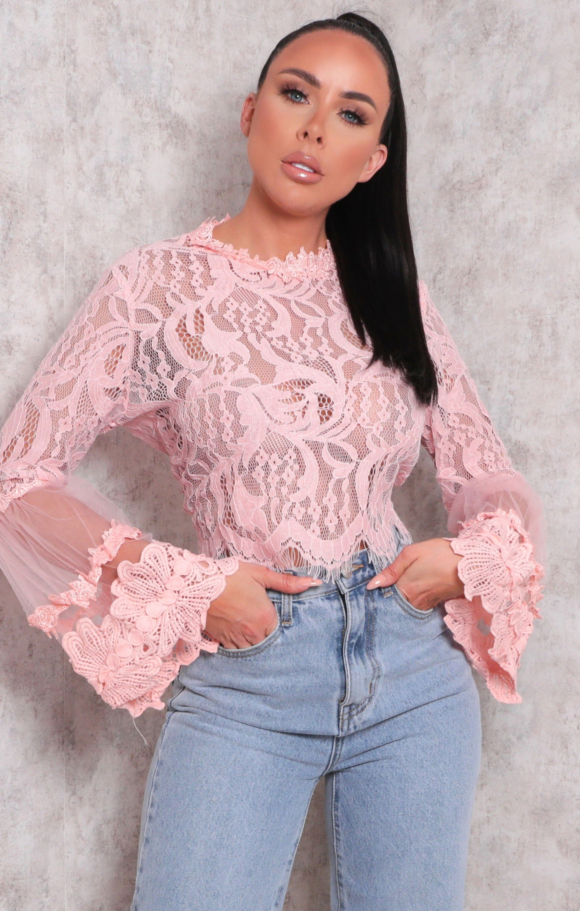 Pink Lace Flare Sleeve Crop Top - Omar