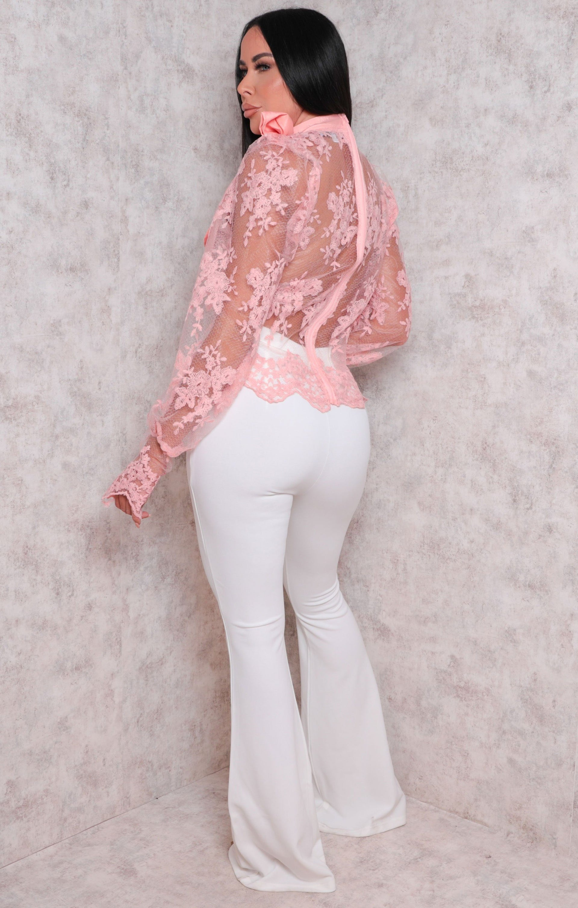 Pink Lace Puff Sleeves High Neck Top - Lola