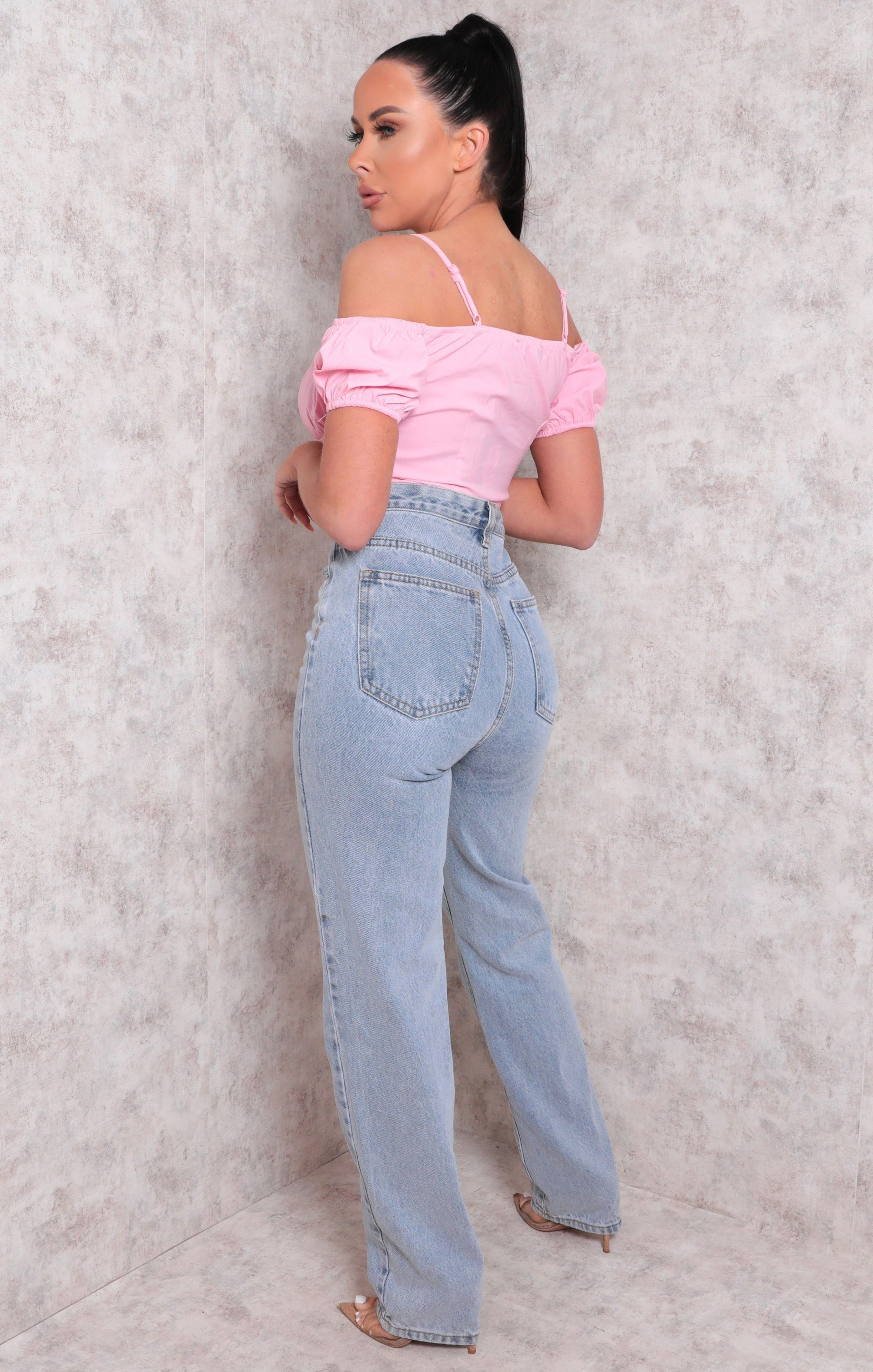 Pink Lace Up Puff Sleeve Crop Top - Albina