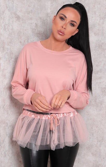 Pink Long Sleeve Sweatshirt Tulle Top - Eros