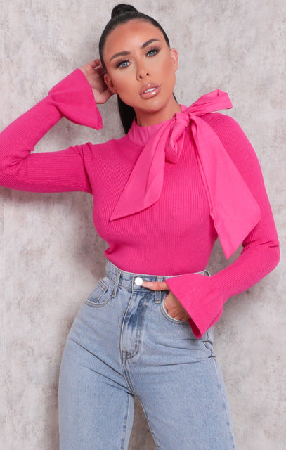 Pink Mesh Tie Bow Front Ribbed Frill Top - Valente