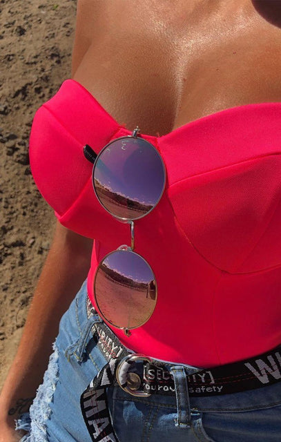 Pink Mirrored Circle Sunglasses - Adelina