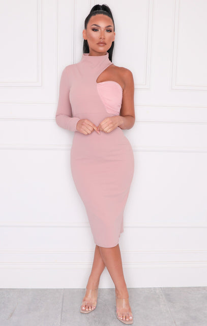 Pink One Shoulder High Neck Bodycon Midi Dress - Sabrina