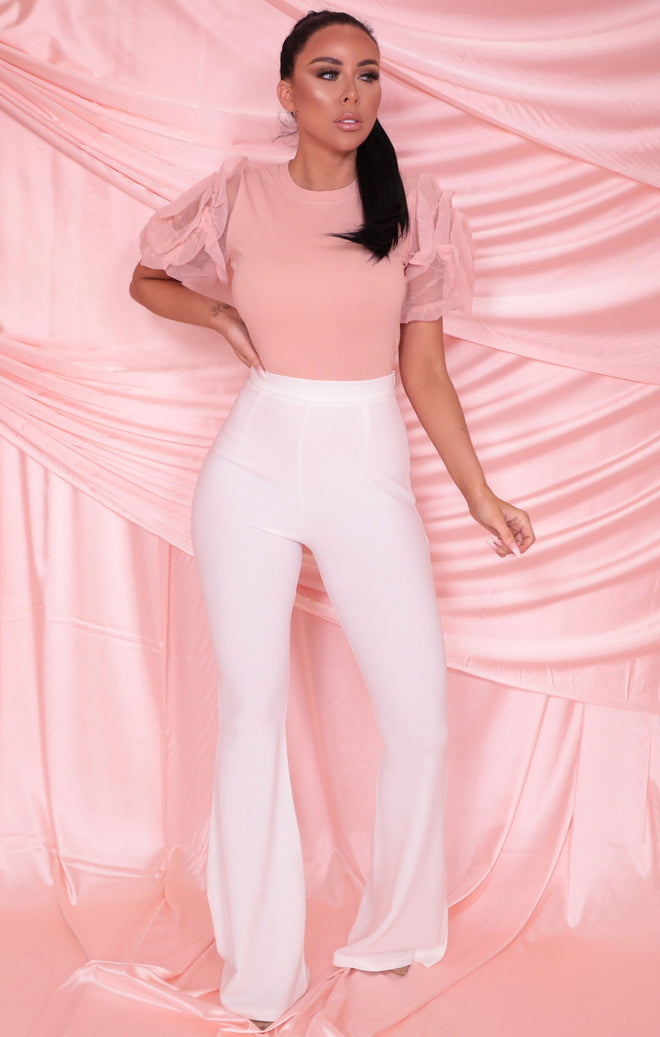 Pink Organza Rose Sleeve Fitted Top - Jamie