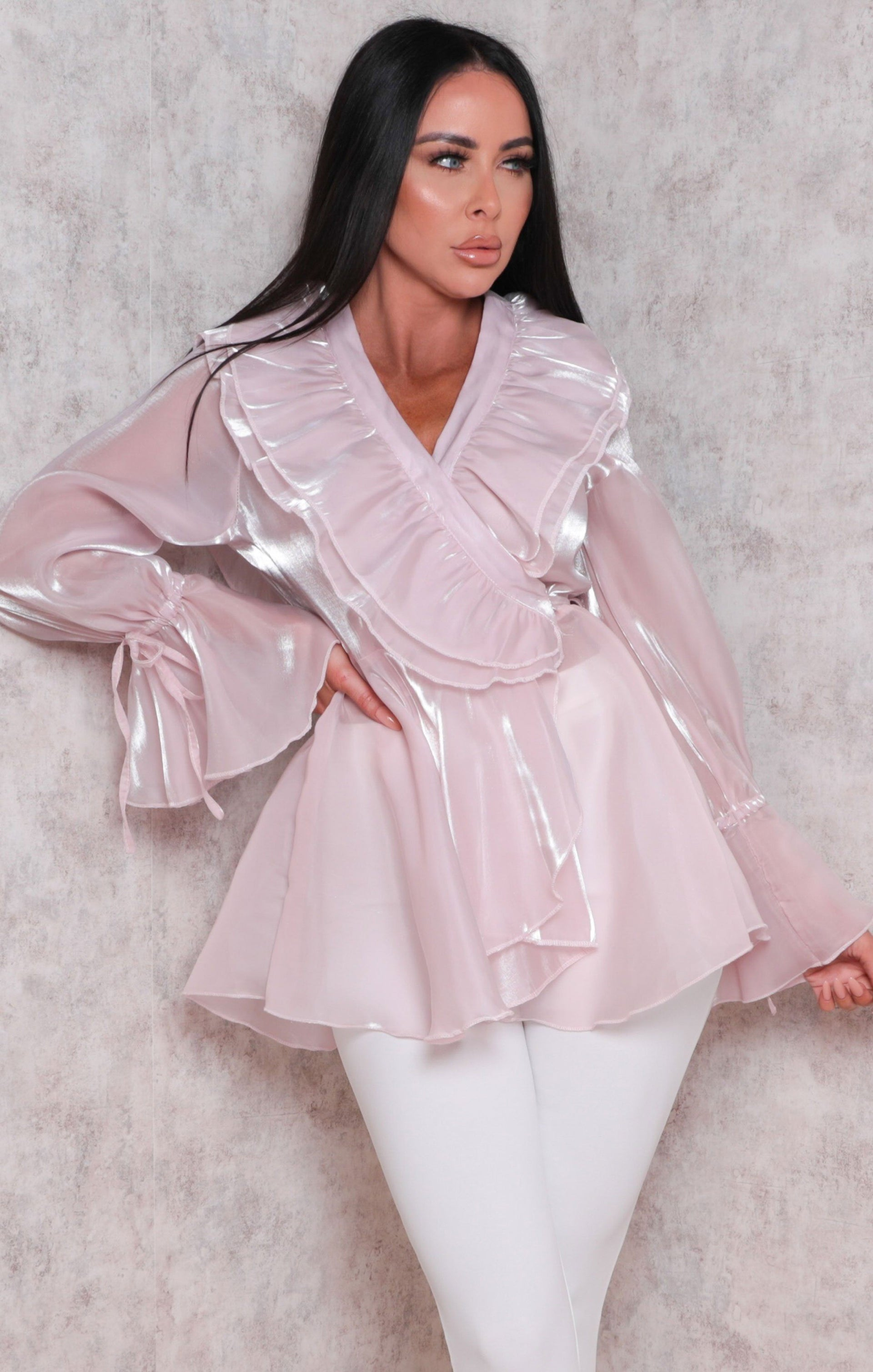 Pink Plunge Organza Ruffle Frill Sleeve Top - Tamika