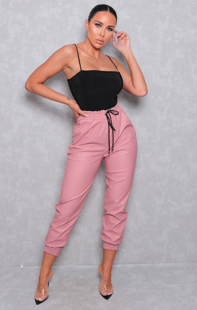 Pink PU Cuffed Joggers - Sophie