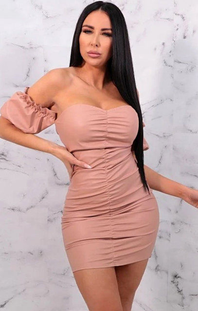 Pink PU Ruched Bardot Bodycon Mini Dress - Alex