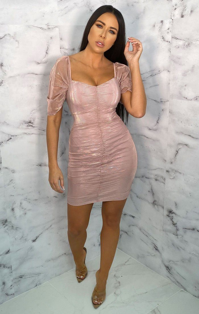 Pink Ruched Mesh Organza Puff Sleeve Bodycon Mini Dress - Maddie