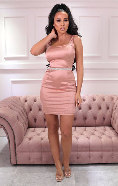 Pink Satin Diamante Belt Mini Dress - Poppy