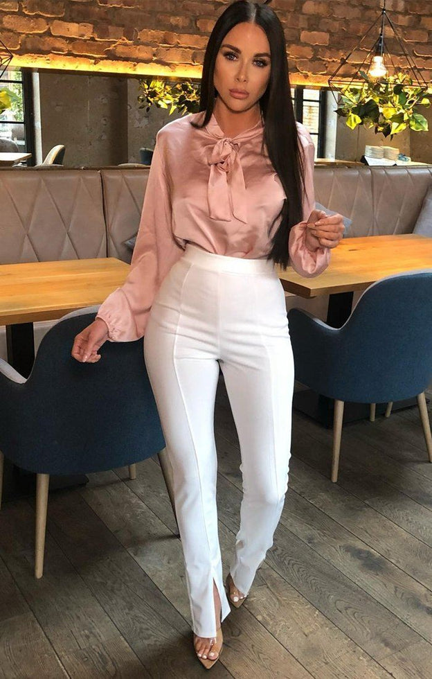Pink Satin Neck Tie Blouse