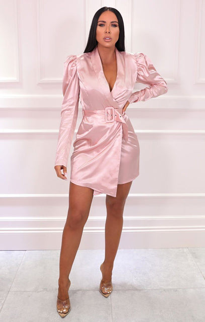 Pink Satin Puff Sleeve Belted Blazer Dress - Shawn