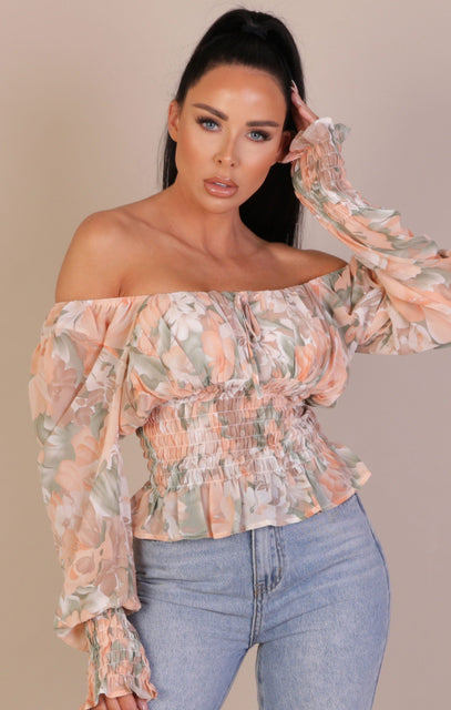 Pink Shirred Waist Milkmaid Top - Whitney