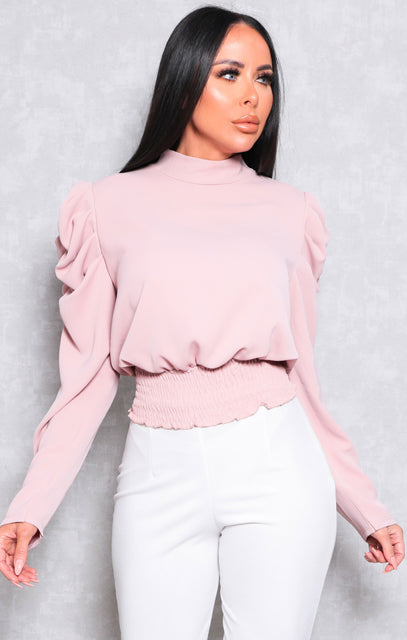 Pink Shrilled Waist Long Sleeve Top - Theo