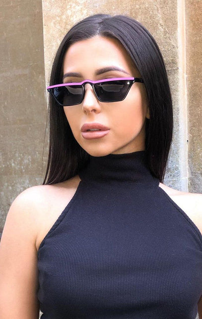 Pink Stripe Retro Sunglasses - Gabby