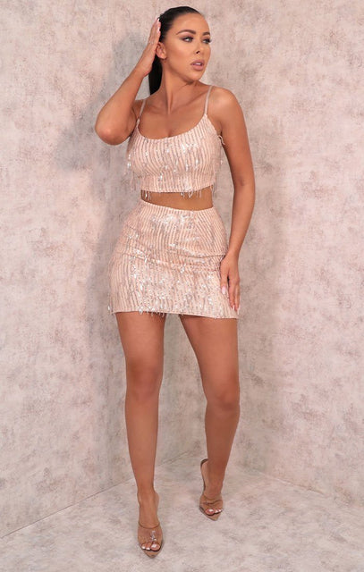 Pink Tassel Sequin Crop Top & Skirt Co-ord - Londyn