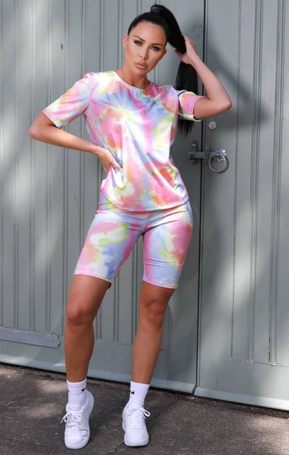 Pink Tie Dye Oversized T-Shirt Co-ord - Maisie