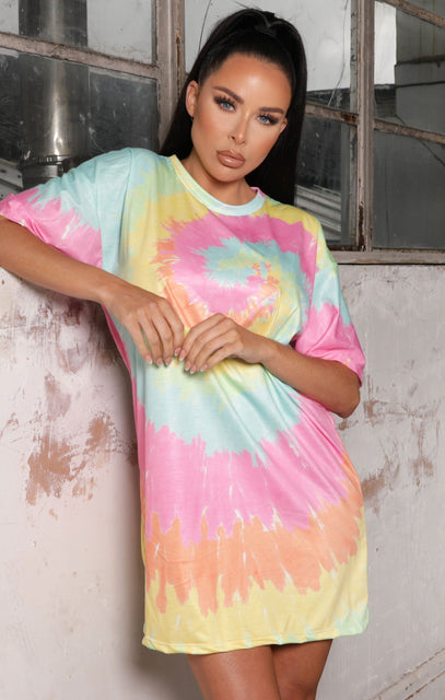 Pink Tie Dye Oversized T-Shirt Dress - Casey NO PRICE DONT PUT LIVE