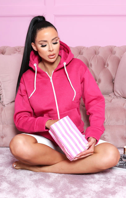 Pink Zip Up Oversized Hoodie - Ana