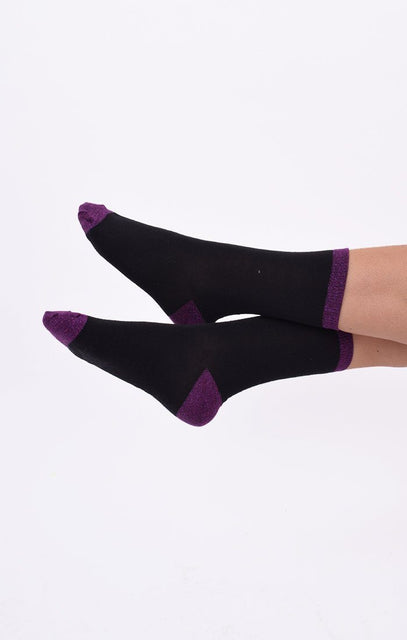 Purple & Black Glitter 2 Pack Socks - Tamzin