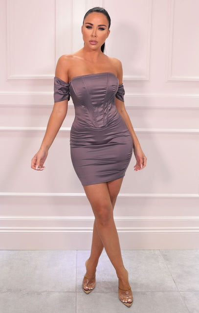 Purple Corset Satin Bardot Bodycon Mini Dress - Jade