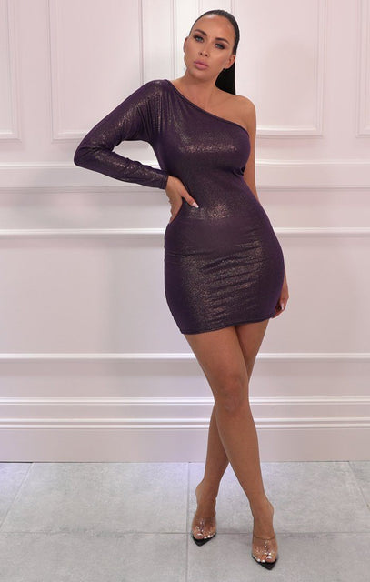 Purple Iridescent One Shoulder Bodycon Mini Dress - Mariah