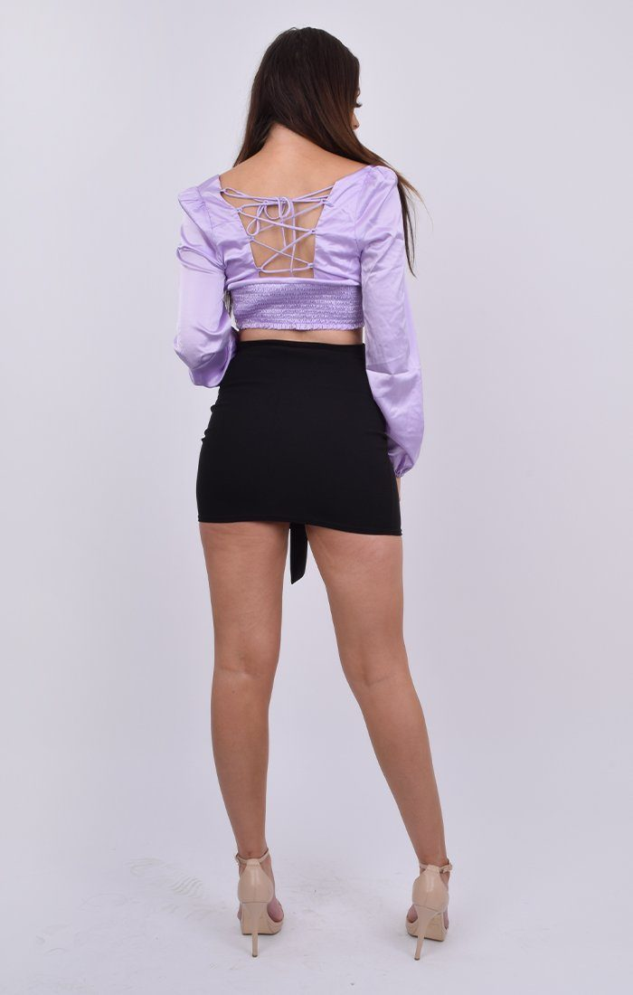 Purple Satin Tie Back Milkmaid Crop Top - Lola