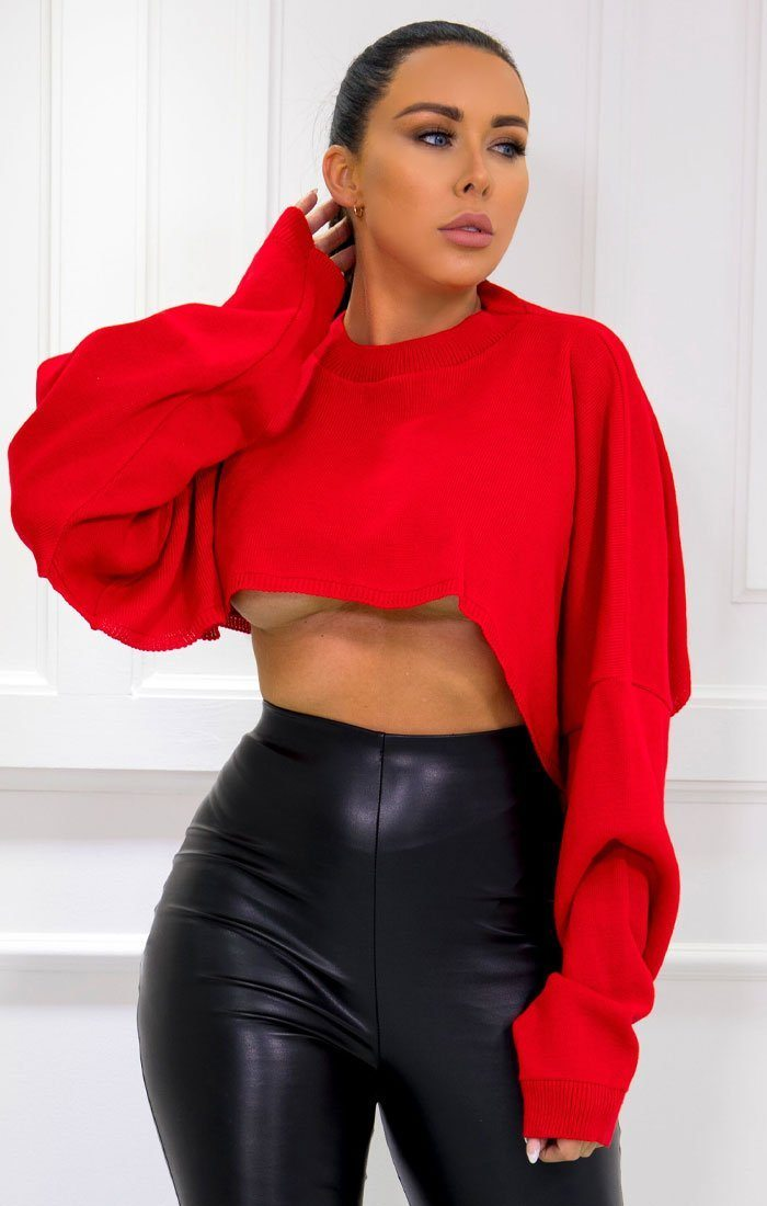 Red Extreme Crop Jumper - Bryden
