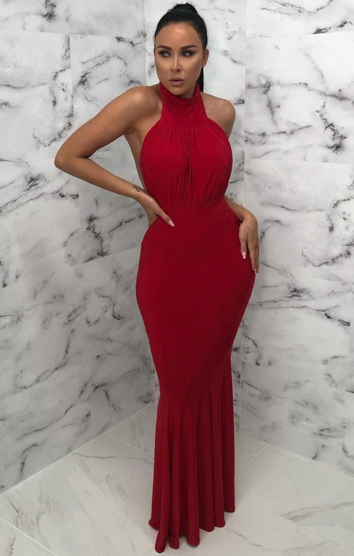 Red High Neck Bodycon Maxi Dress - Deandra