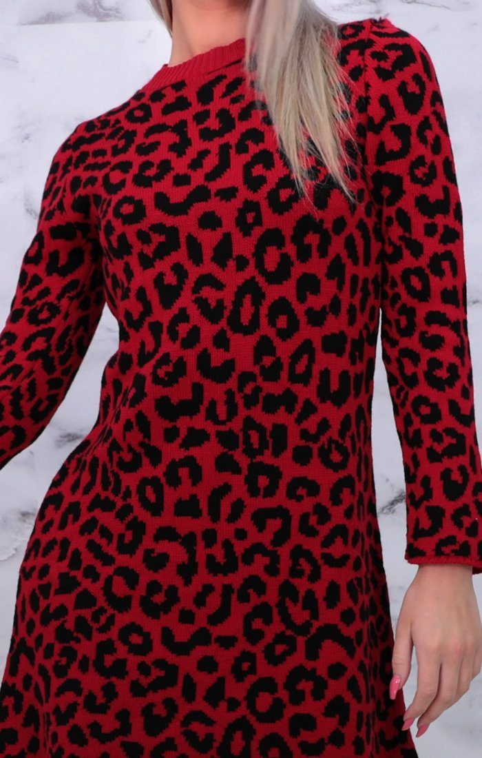 Red Leopard Print Long Sleeve Knitted Jumper Dress - Serena