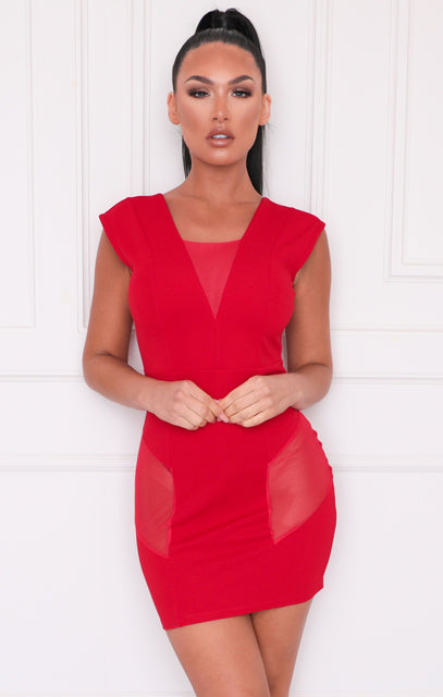 Red Mesh Panel V Neck Bodycon Mini Dress - Tammy