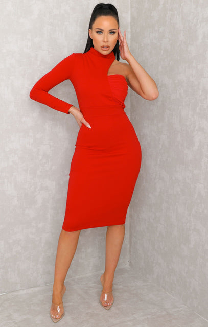 Red One Shoulder High Neck Bodycon Midi Dress - Sabrina