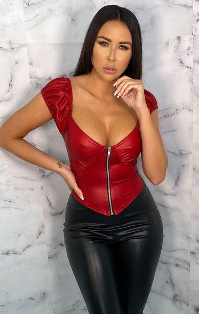 Red PU Puff Sleeve Zip Up Crop Top - Stephany