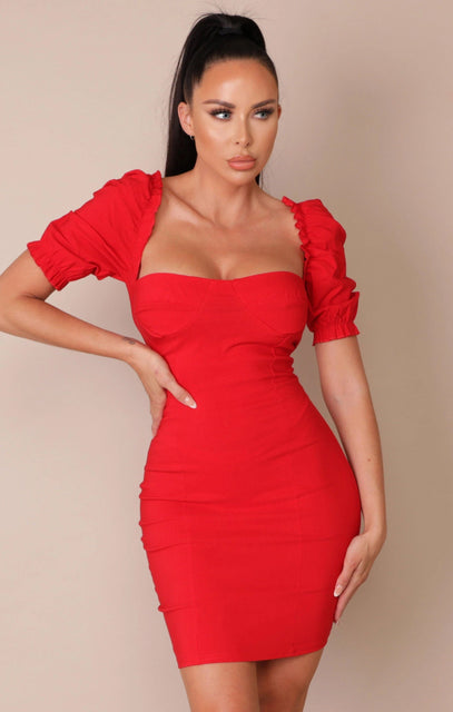 Red Puff Sleeve Bodycon Mini Dress - Mae