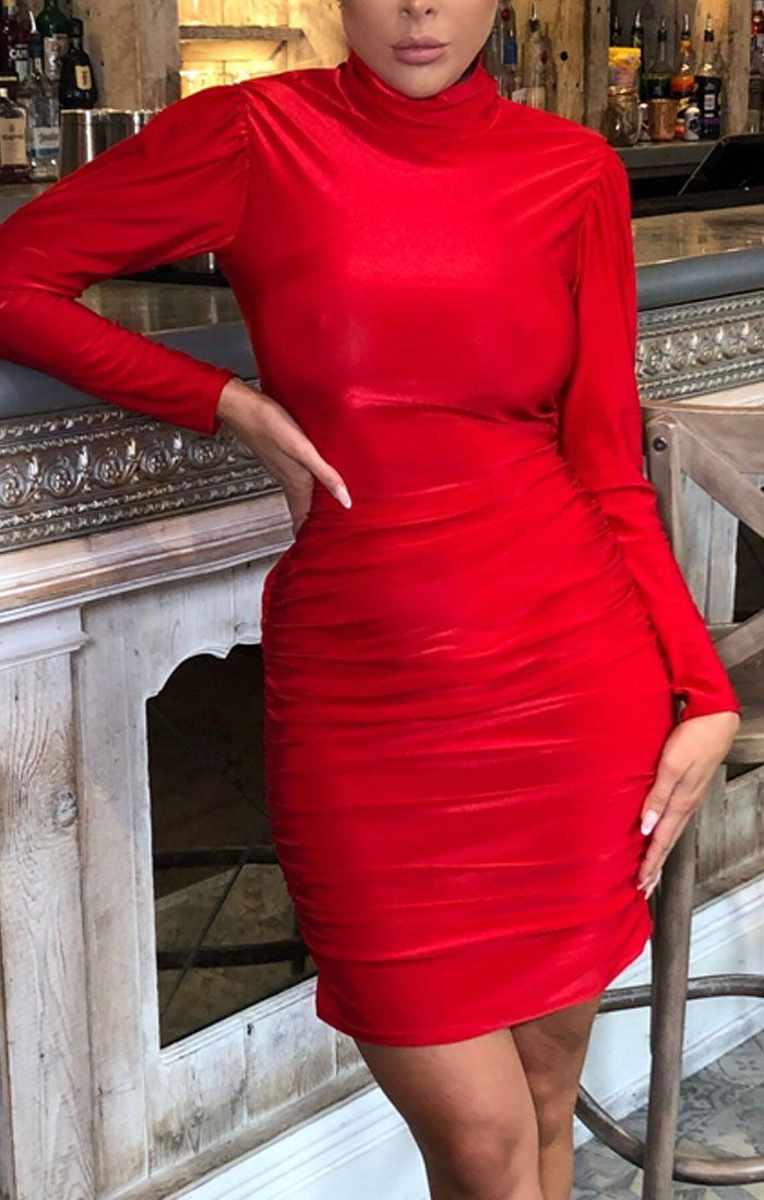 Red Ruched High Neck Bodycon Midi Dress - Peyton