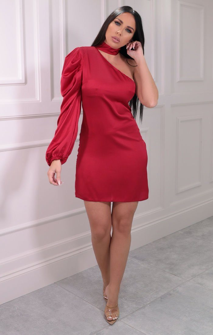 Red Satin High Neck Bodycon Mini Dress - Abner