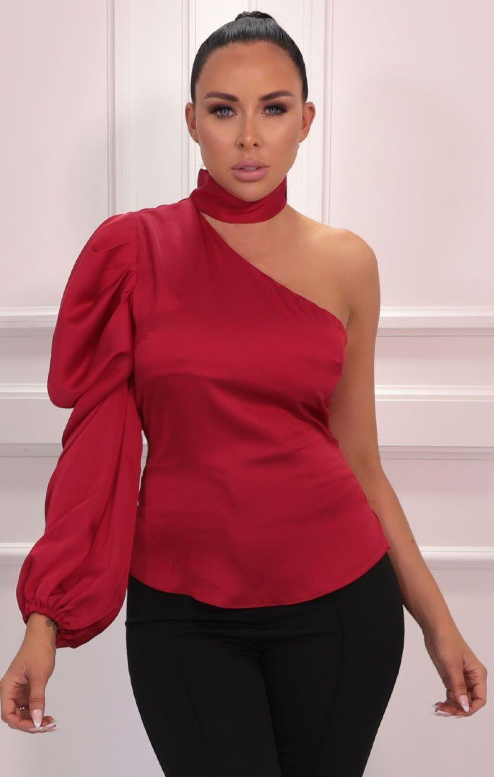 Red Satin High Neck One Shoulder Sleeve Top - Tommi
