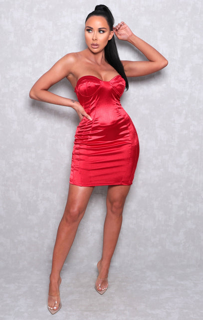 Red Satin Strapless Corset Bodycon Mini Dress - Rachel