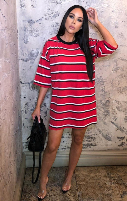 Red Stripe T-Shirt Dress - Nova