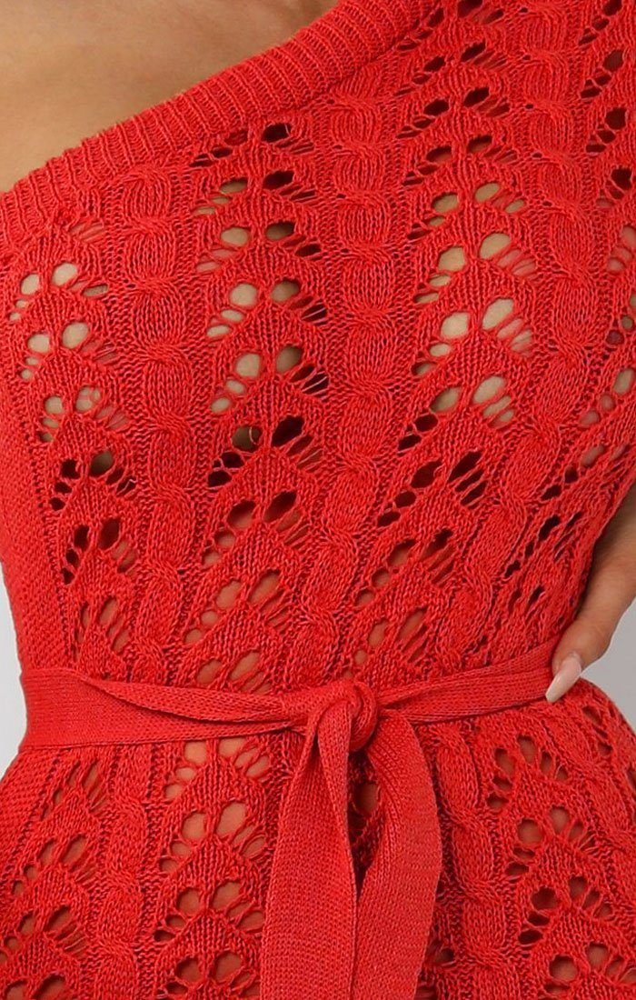Red Crochet One Shoulder Midi Dress - Armelle