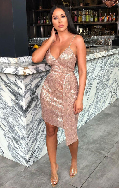 Rose Gold Sequin Sparkly Bodycon Dress - Ianthe