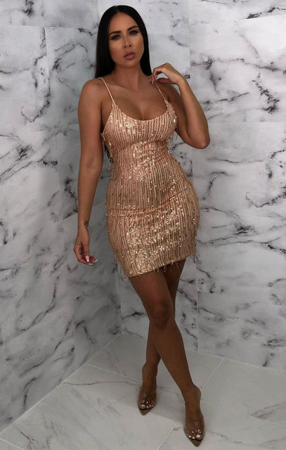 Rose Gold Sequin Tassel Bodycon Mini Dress - Alicio