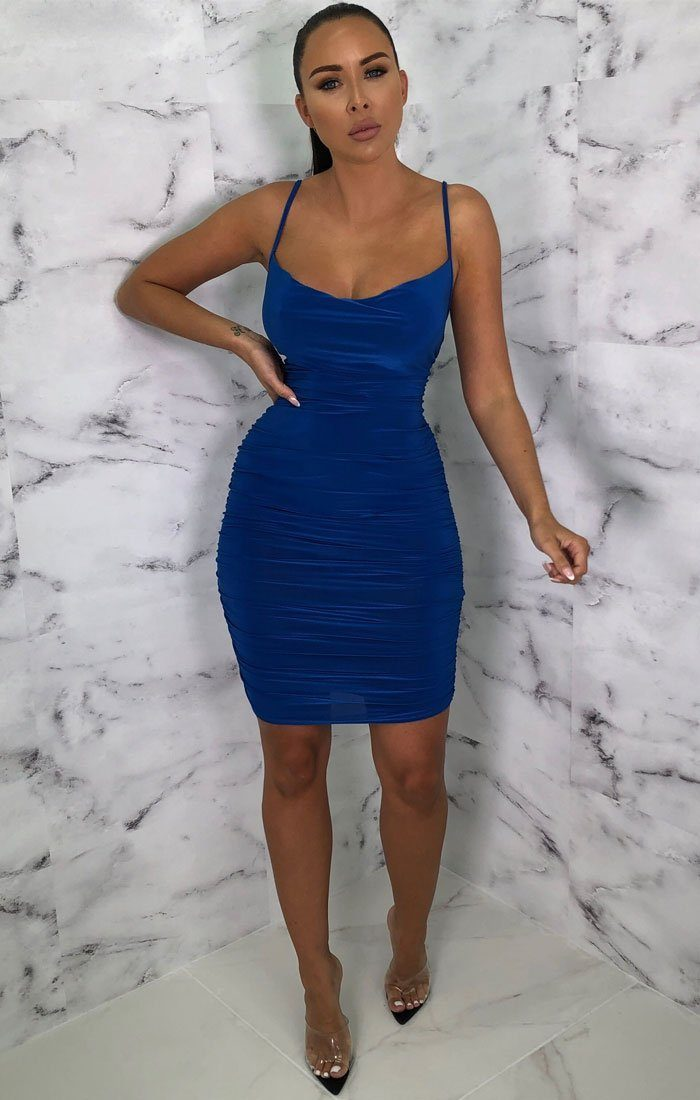 Royal Blue Ruched Cowl Neck Bodycon Mini Dress - Sofie