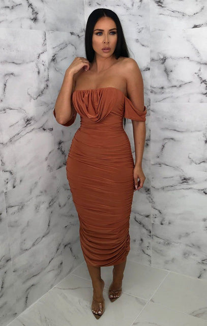 Rust Bardot Cowl Neck Ruched Midi Dress - Malia