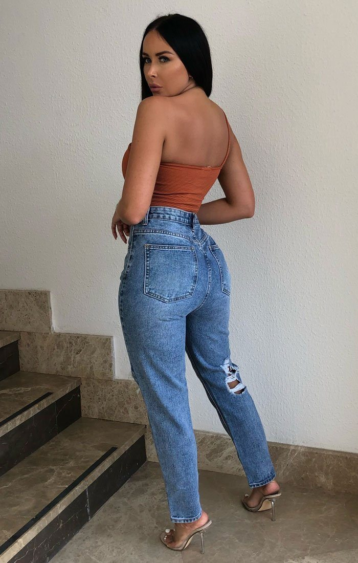 Rust Ribbed One Shoulder Crop Top - Daisy