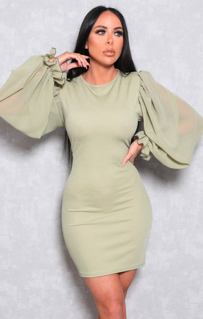 Sage Bodycon Puff Sleeve Mini Dress - Amiie