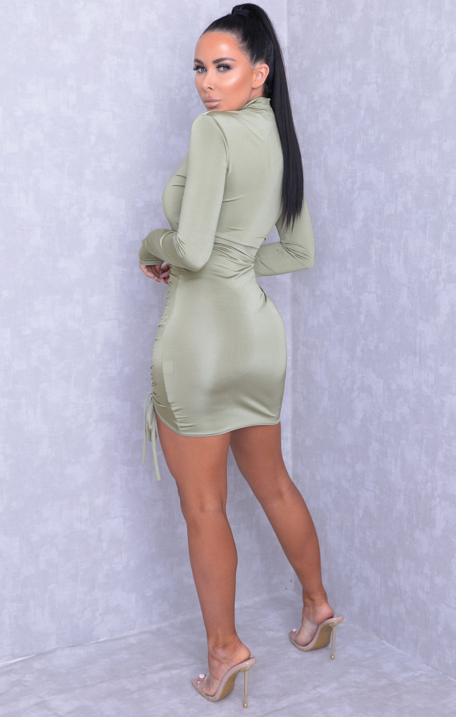 Sage High Neck Ruched Side Bodycon Mini Dress - Tasmin