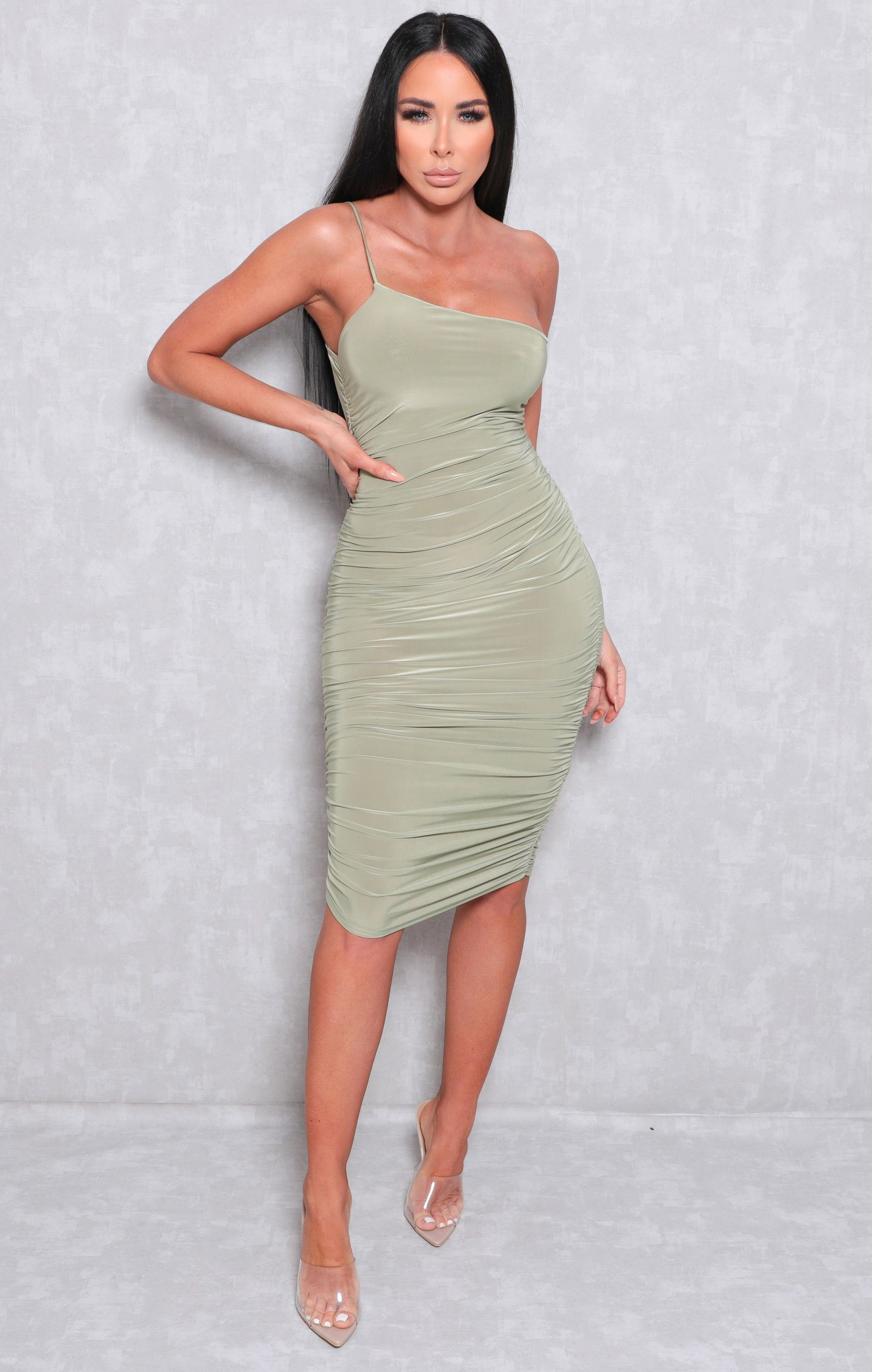 Sage One Shoulder Ruched Slinky Bodycon Mini Dress - Daisy