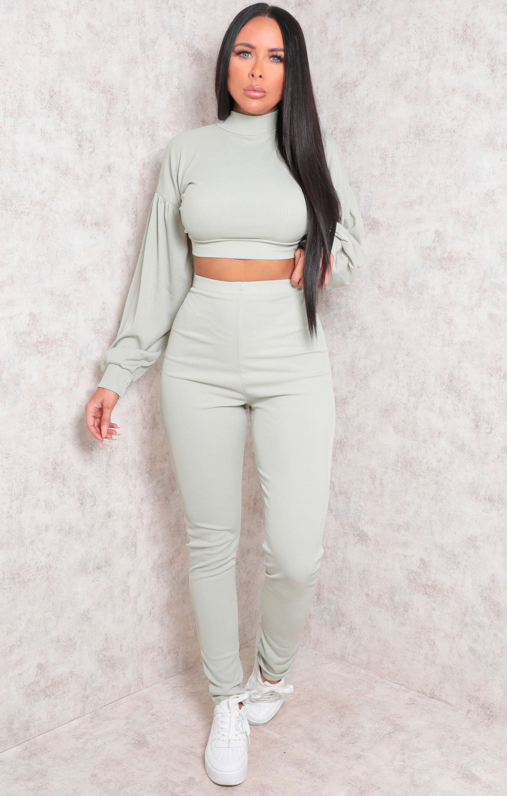 Sage Ribbed Crop Top Straight Leg Loungewear Set - Aniston